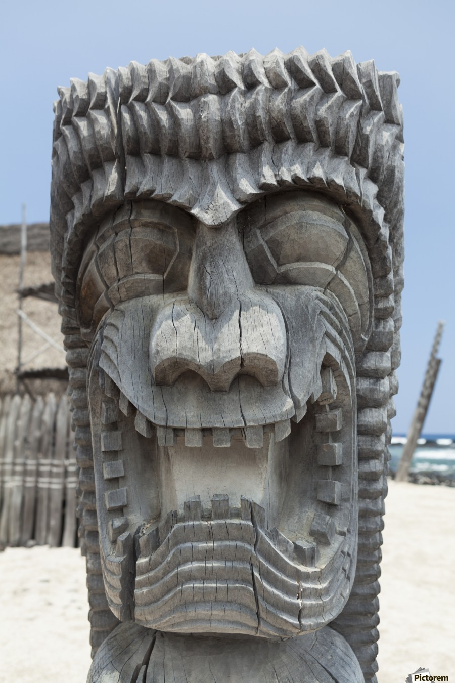 Carving of a face in City of Refuge National Historical Park; Big Island, Hawaii, United States of America  Print