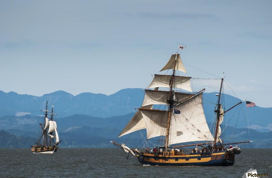 Tall ships sail on the Columbia River near Astoria; Oregon, United States of America  Print