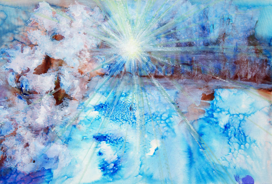 Abstract watercolour painting with a starburst  Print