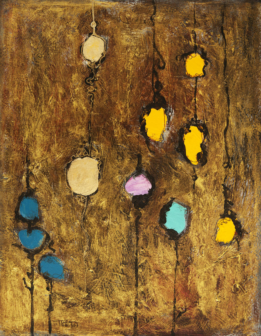 Abstract artwork of colourful circles on a brown grainy background  Print