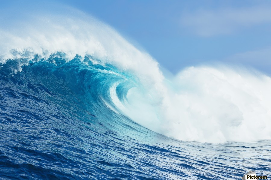 A large ocean wave breaks at the big wave spot know as Jaws or Peahi; Maui, Hawaii, United States of America  Print