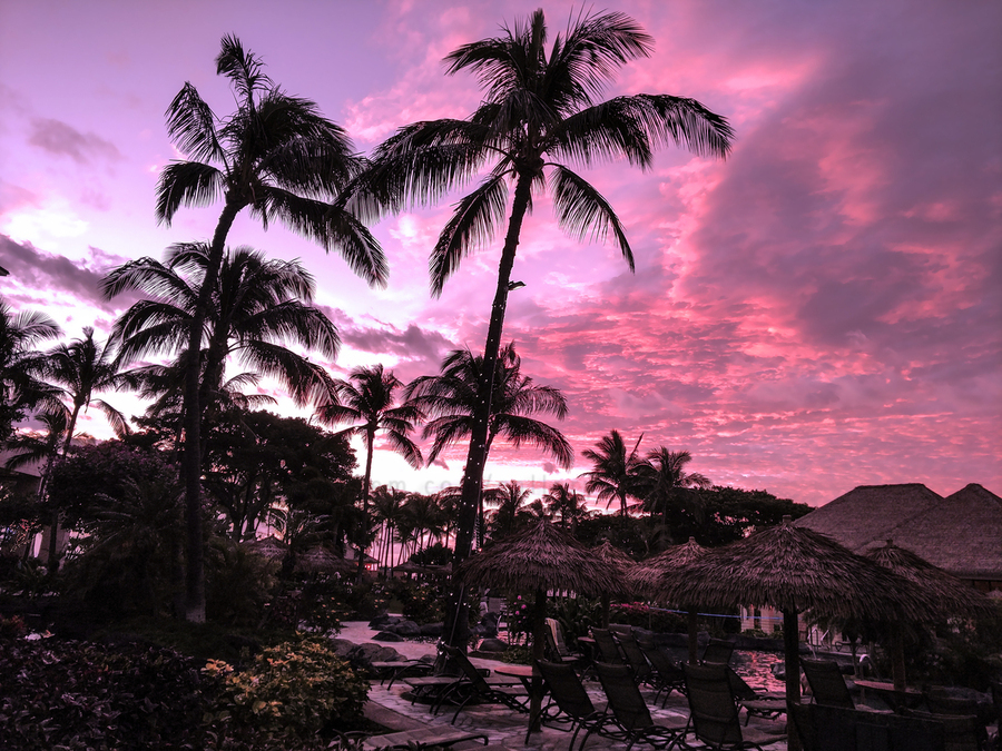 After the Beach Party - Tropical Sunset Hawaii  Print