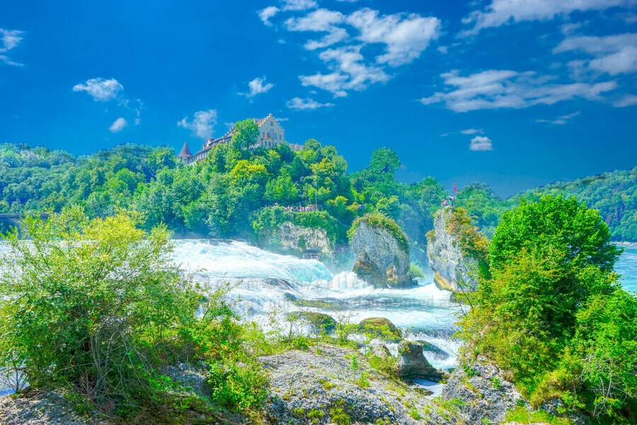 Beautiful Day at Rheinfall Switzerland 1 of 2  Print