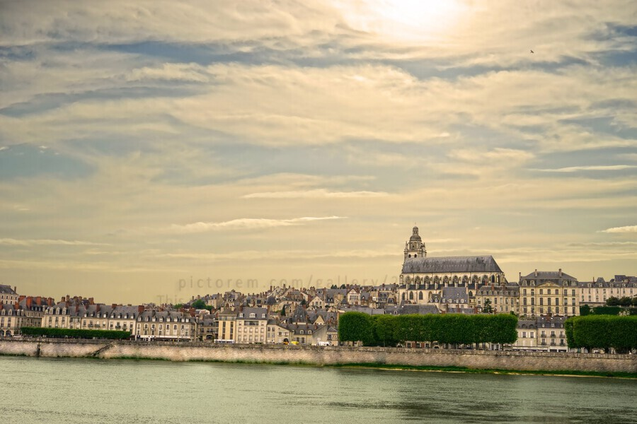 Cathedrale Saint Louis Across the Loire  Print