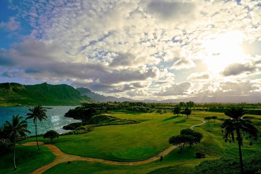 Sunset over Kukii Point on the Island of Kauai in Hawaii  Print