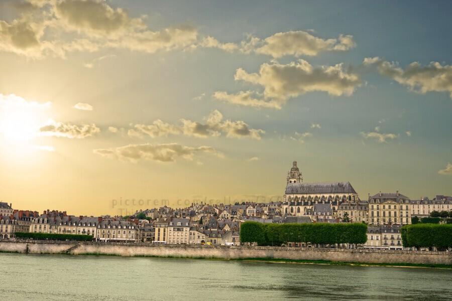 Blois and Cathedrale Saint Louis Across the Loire  Print