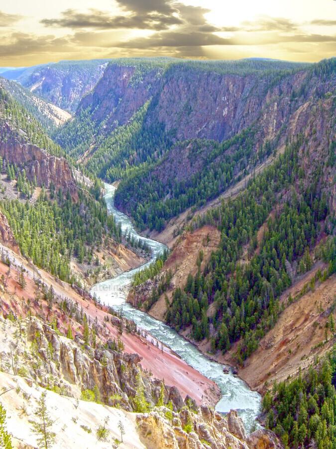 Mighty Yellowstone 2 - Yellowstone River - Yellowstone National Park  Print