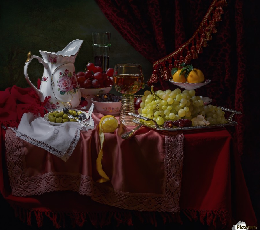 Still life in the Dutch style with a jug  Print