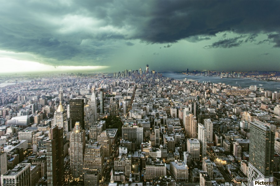 New-York under storm by Pagniez    Print