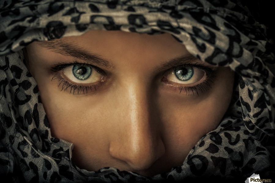 Woman with scarf  Print