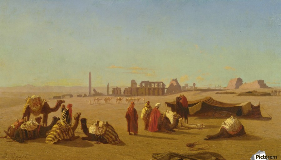 A caravan at rest, the Temple of Karnak, Thebes in the distance  Print