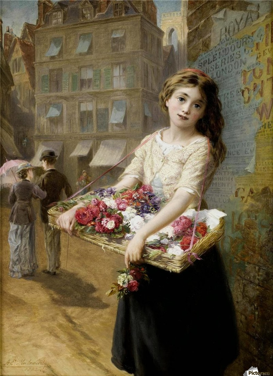 A girl selling roses  Print