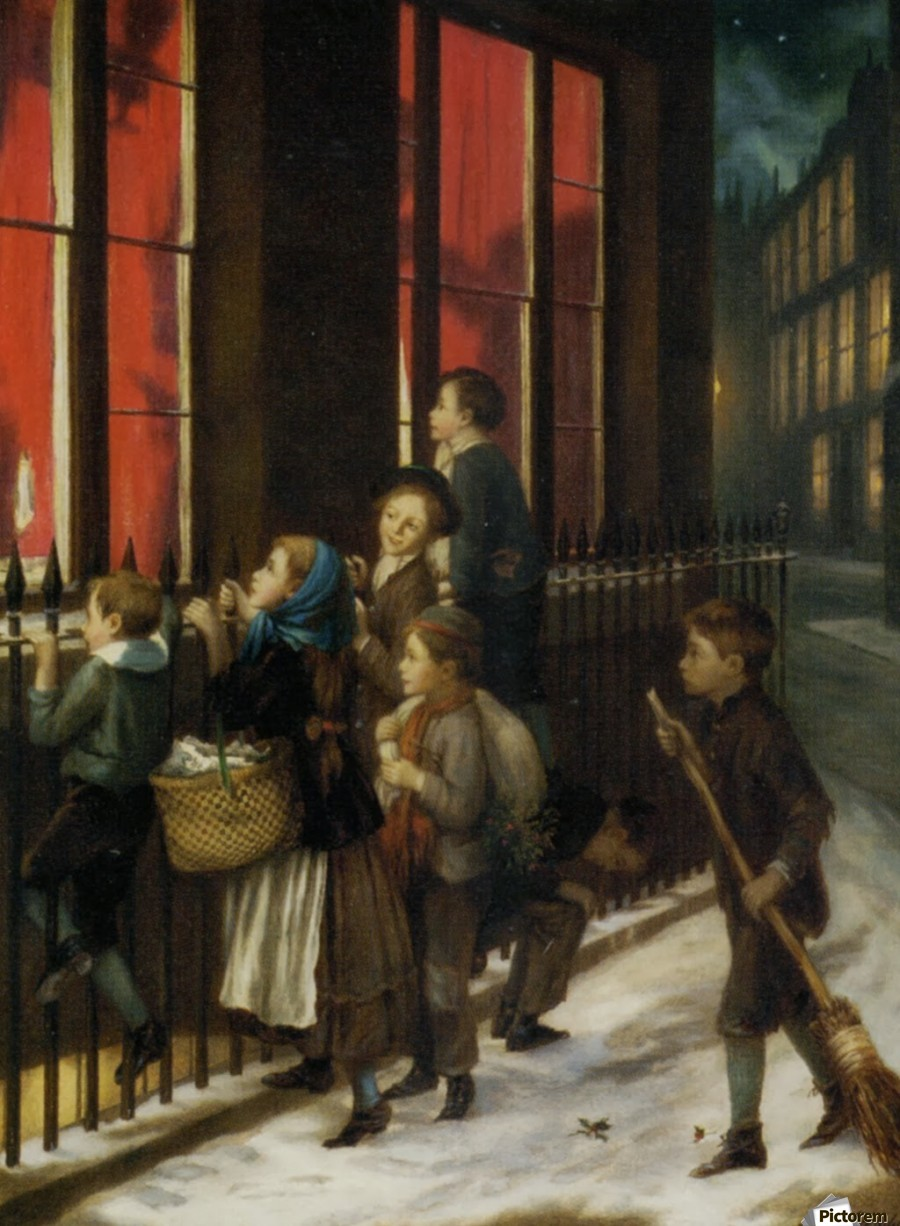 A group of children gazing through the window  Print