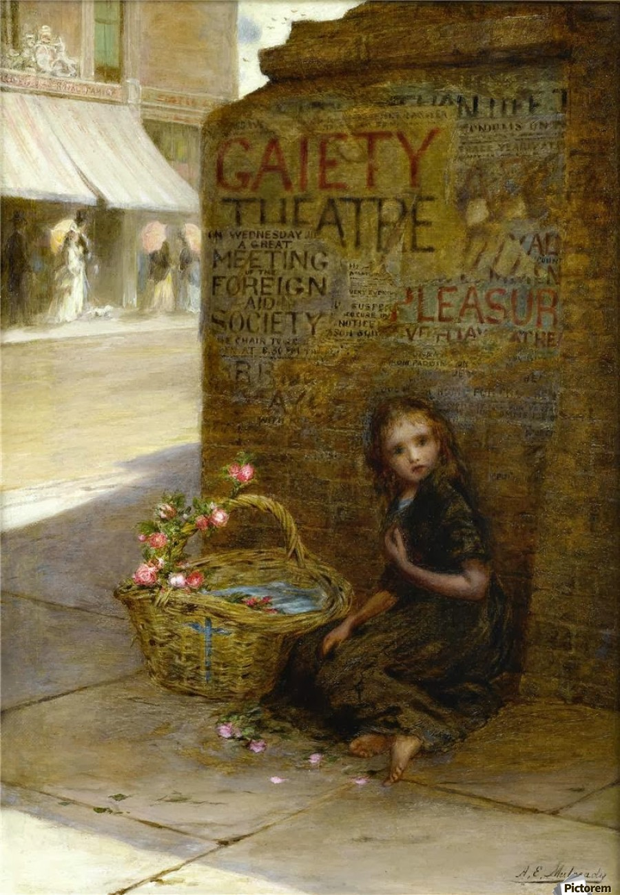A little girl selling flowers  Print