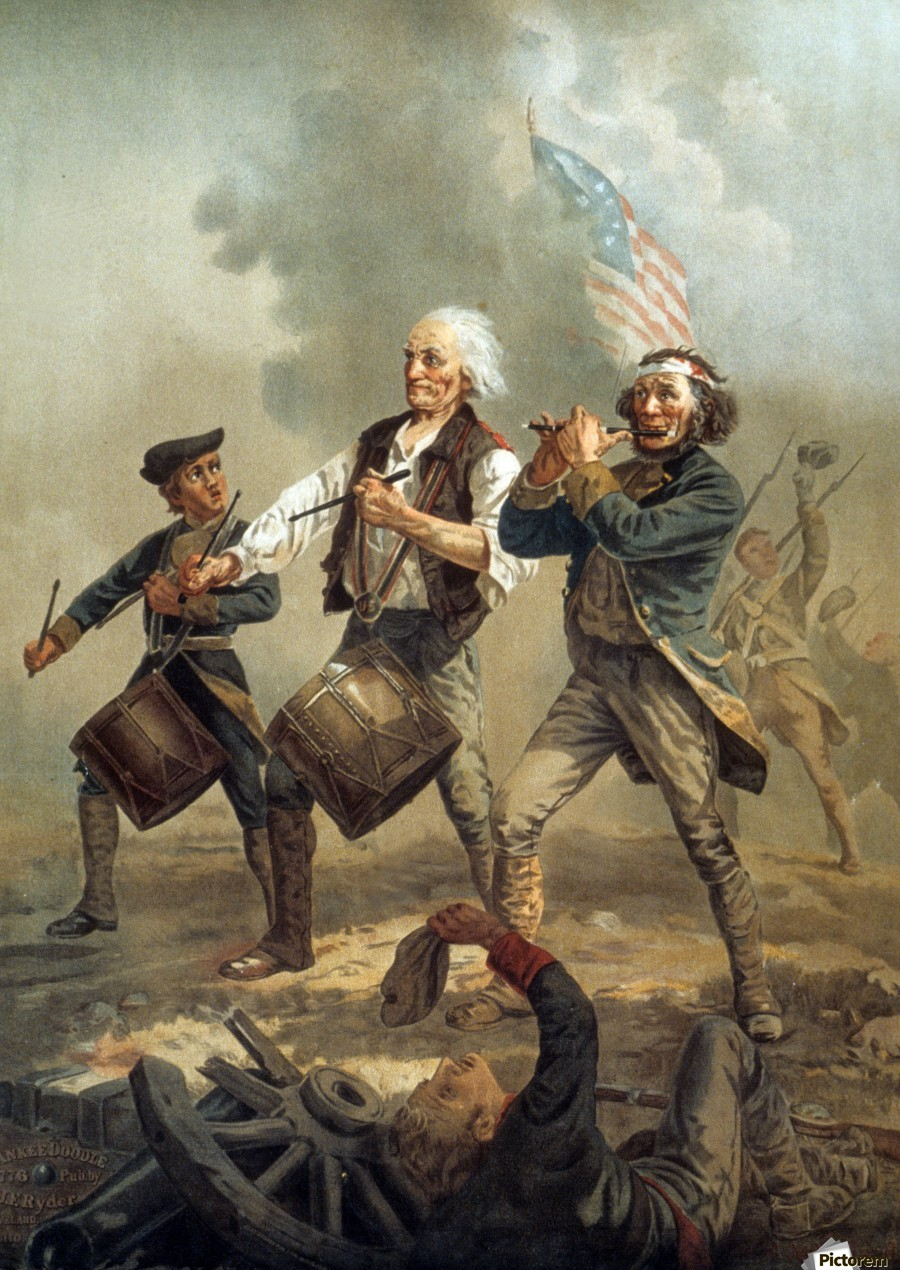 A painting of three men marching through a battle scene  Print