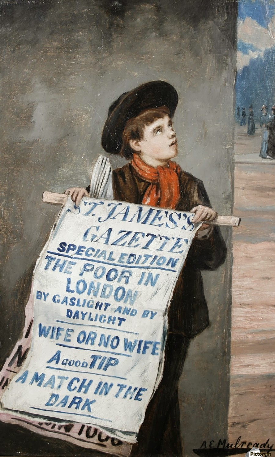 A small boy advertising the news  Print