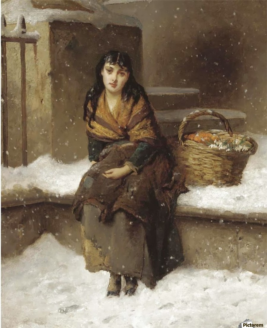 A woman in the snow with a grocery basket  Print