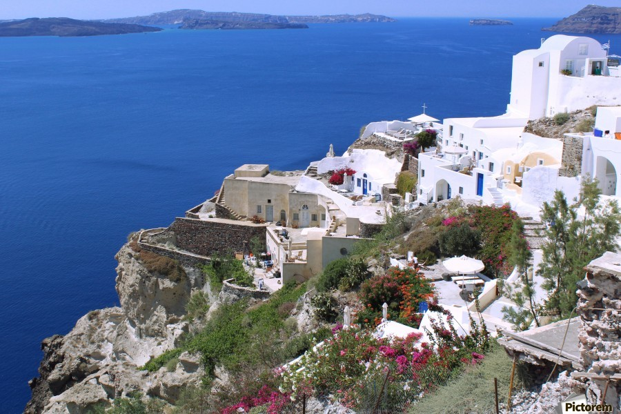Colourful Santorini Landscape   Print