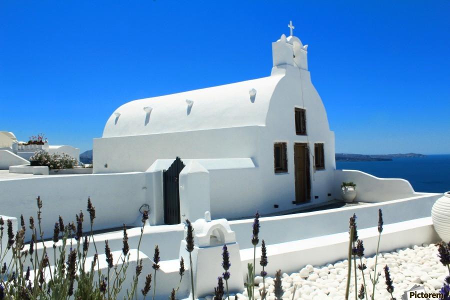 Small White Church in Santorini - Greece  Print