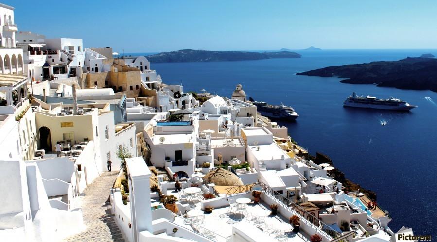Super panoramic view - Santorini - Greece  Print