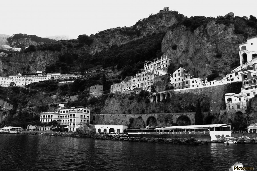 Amalfi Coast Black and White Landscape  Print