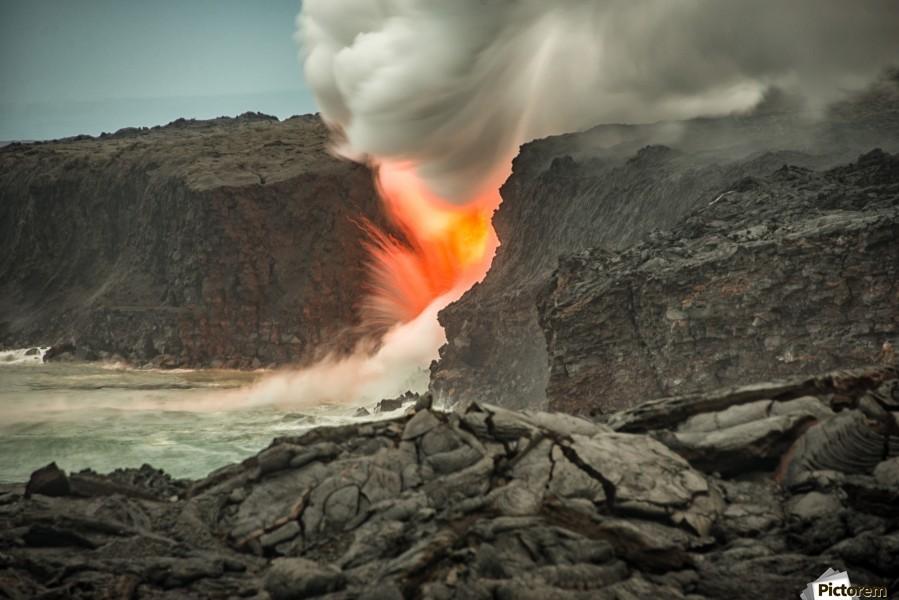 Lava Entering the Ocean  Print