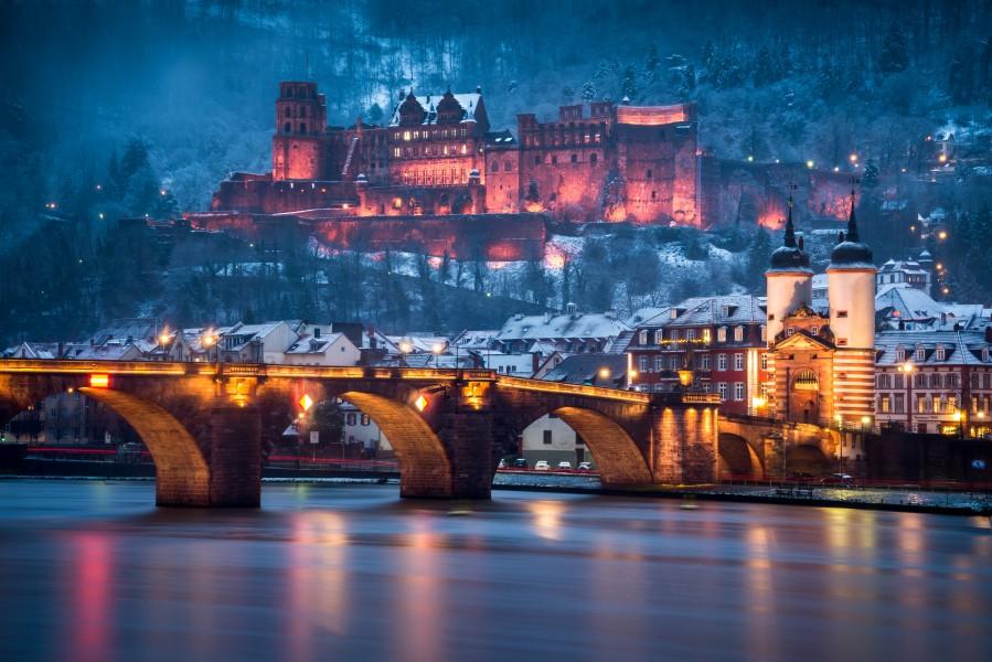Heidelberg Castle and Old Brige in Winter  Print