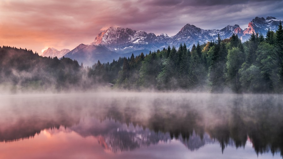 Sunrise at a Lake with Alps in the Background  Print
