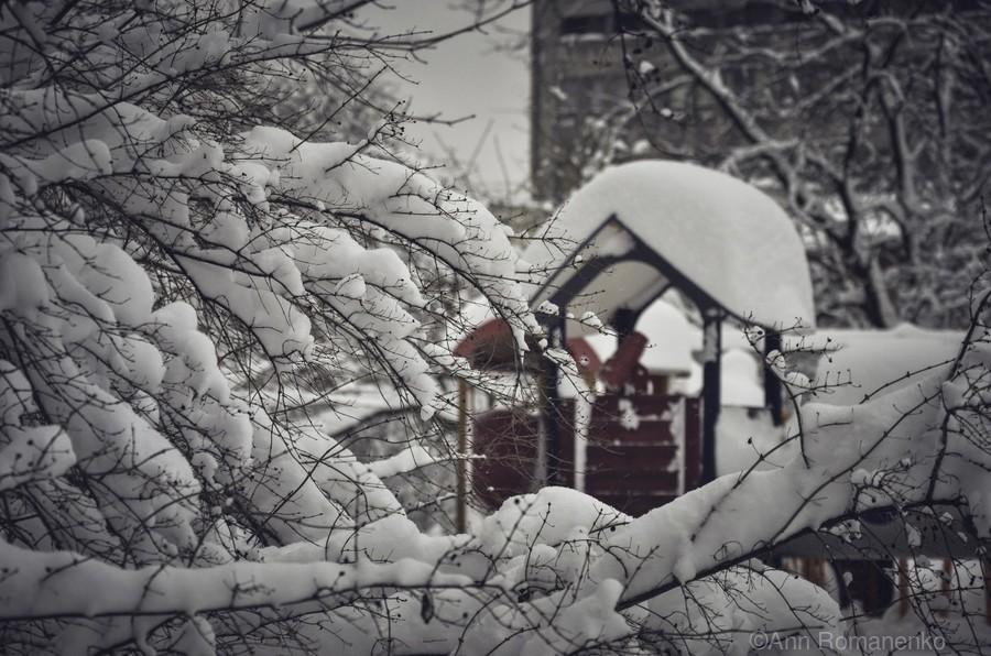 Red Playground Under Snow  Print