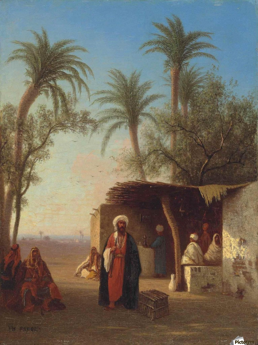 Arab encampment in an oasis nearby  Print