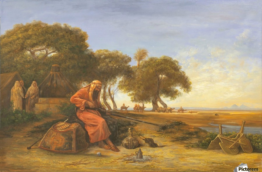 Arab encampment with trees in the back  Print