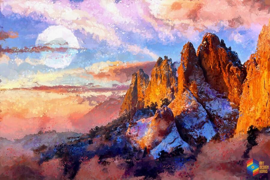 Colorado Mountains - Digital Painting III  Print