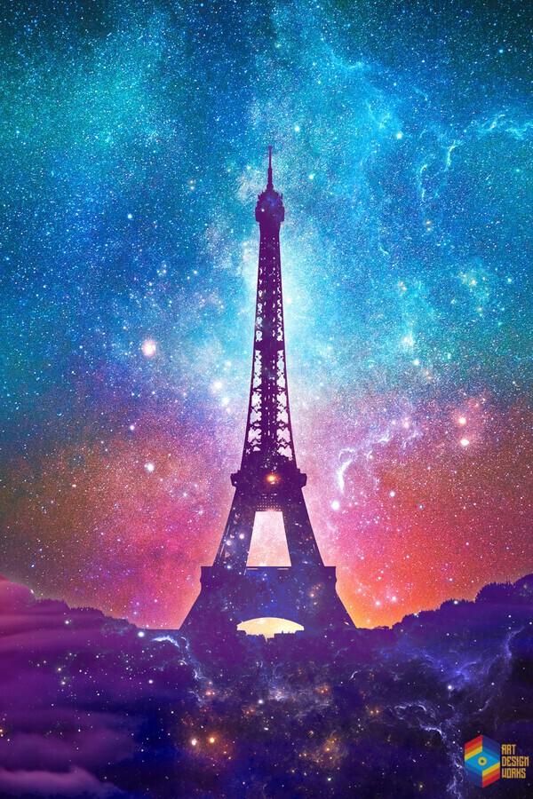 Eiffel Tower - Milky Way Collage  Print