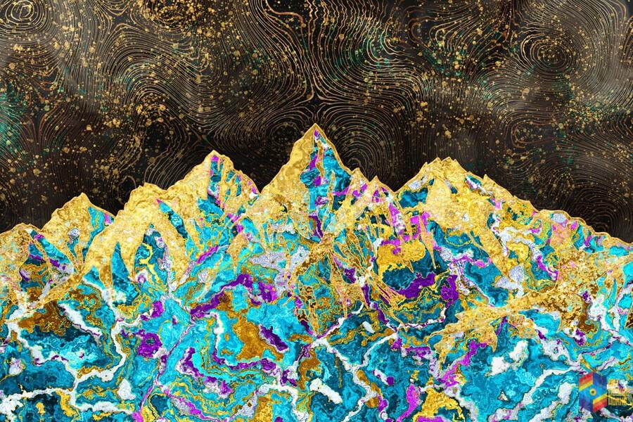 Gold Turquoise Mountain - Illustration I  Print