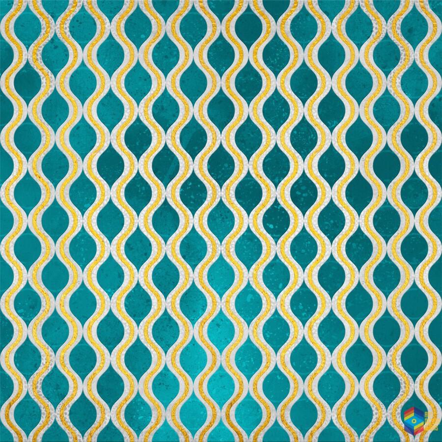 Gold - Turquoise pattern I  Print