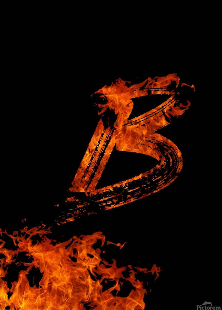 Burning on Fire Letter B  Print