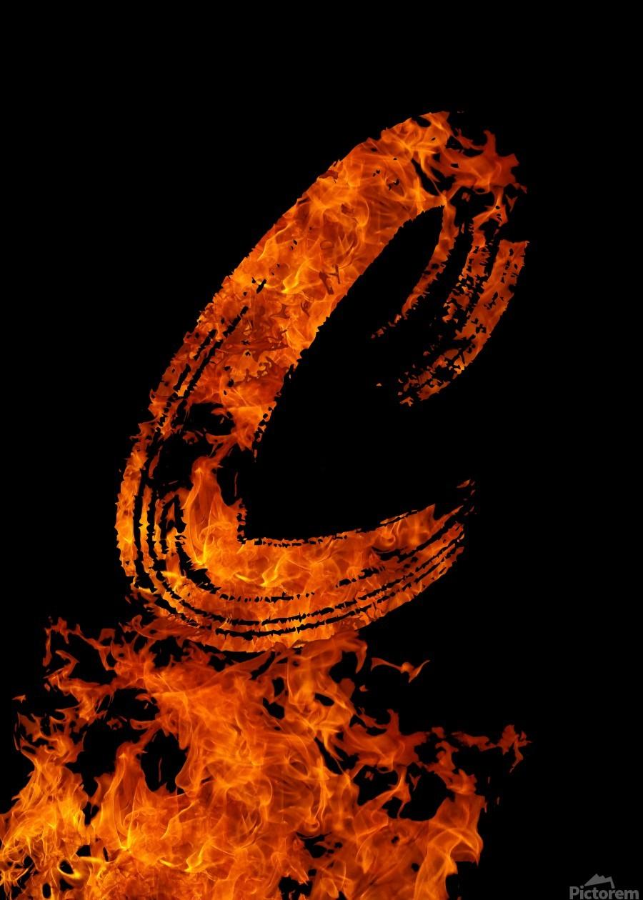 Burning on Fire Letter C  Print