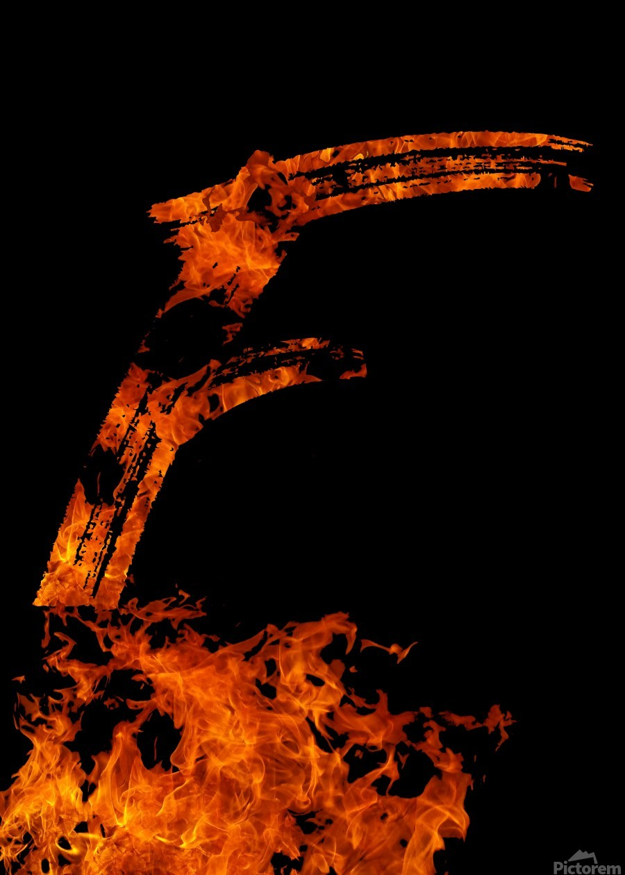 Burning on Fire Letter F  Print