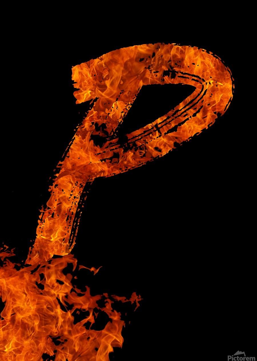 Burning on Fire Letter P  Print