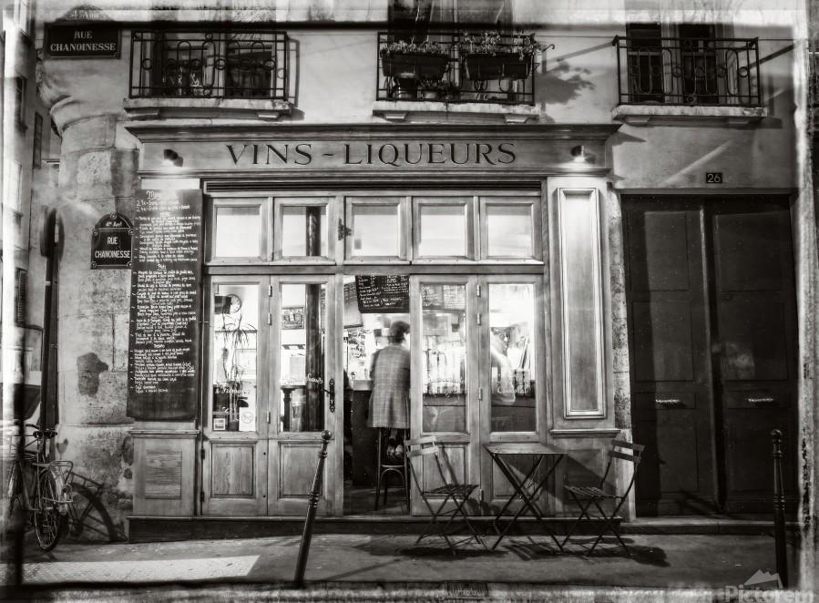 Cafe on street of Montmartre, Paris  Print