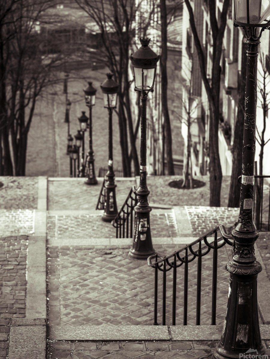 The famous staircase in Montmartre, Paris, France  Print