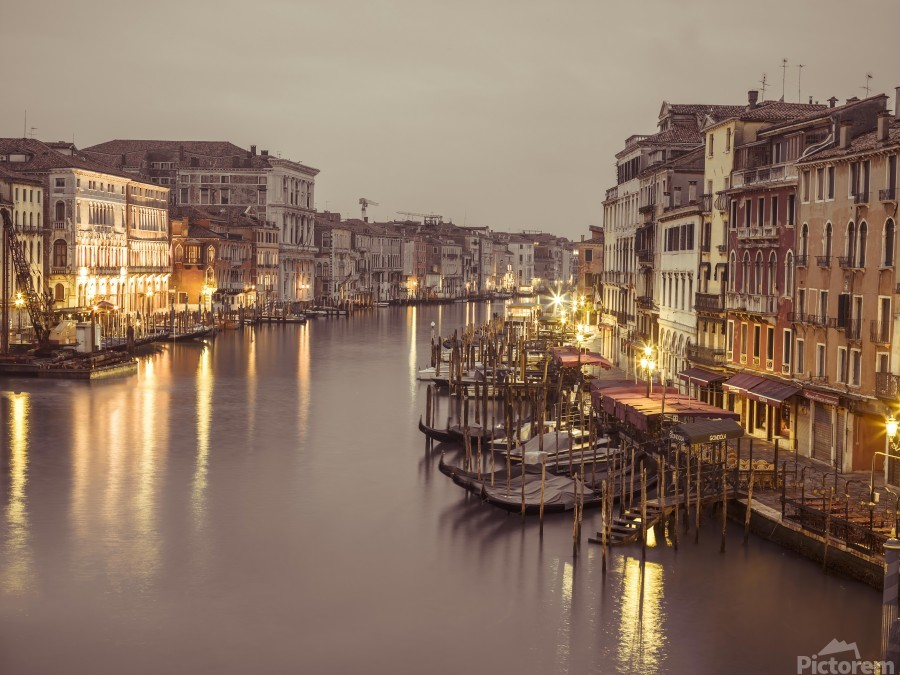 The Grand canal at dusk, Venice, Italy  Print