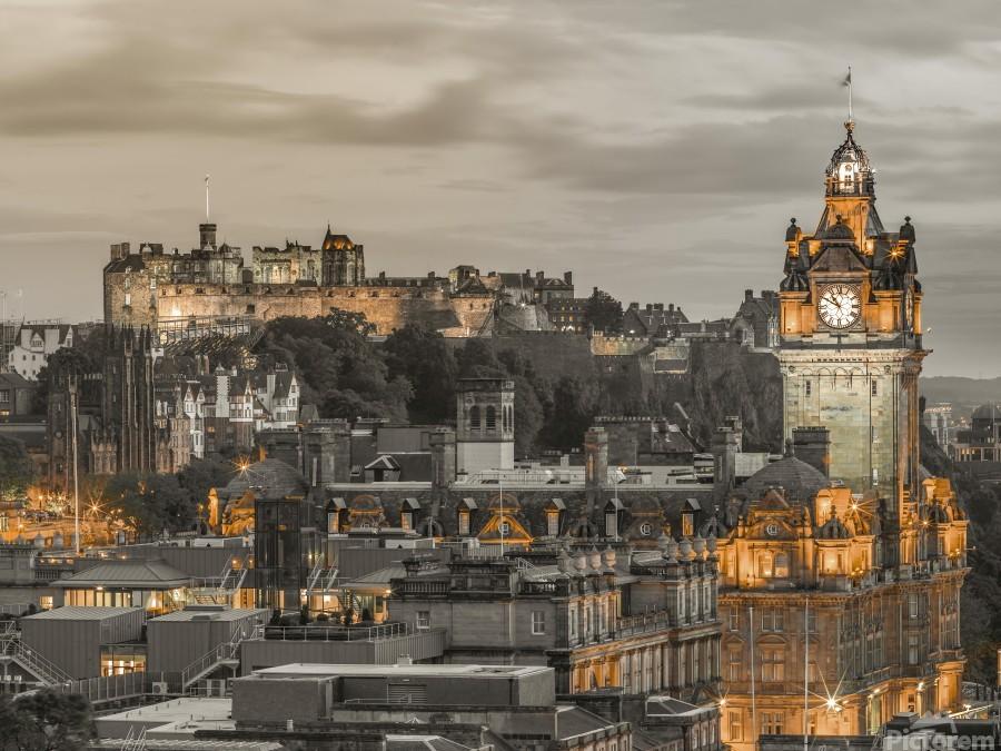 Edinburgh Castle and The Balmoral Hotel, Scotland  Print
