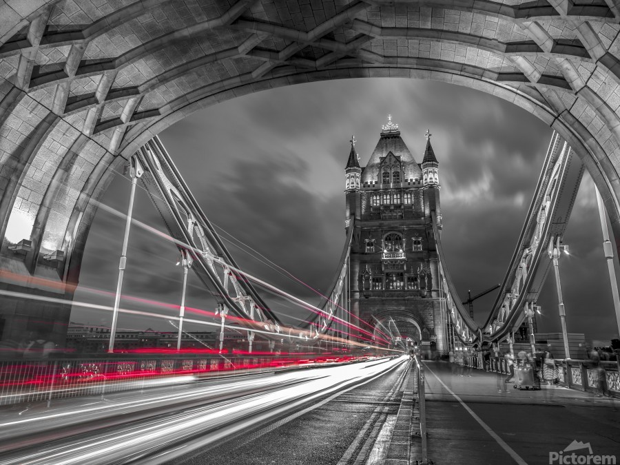 Tower bridge with strip lights, London, UK  Print
