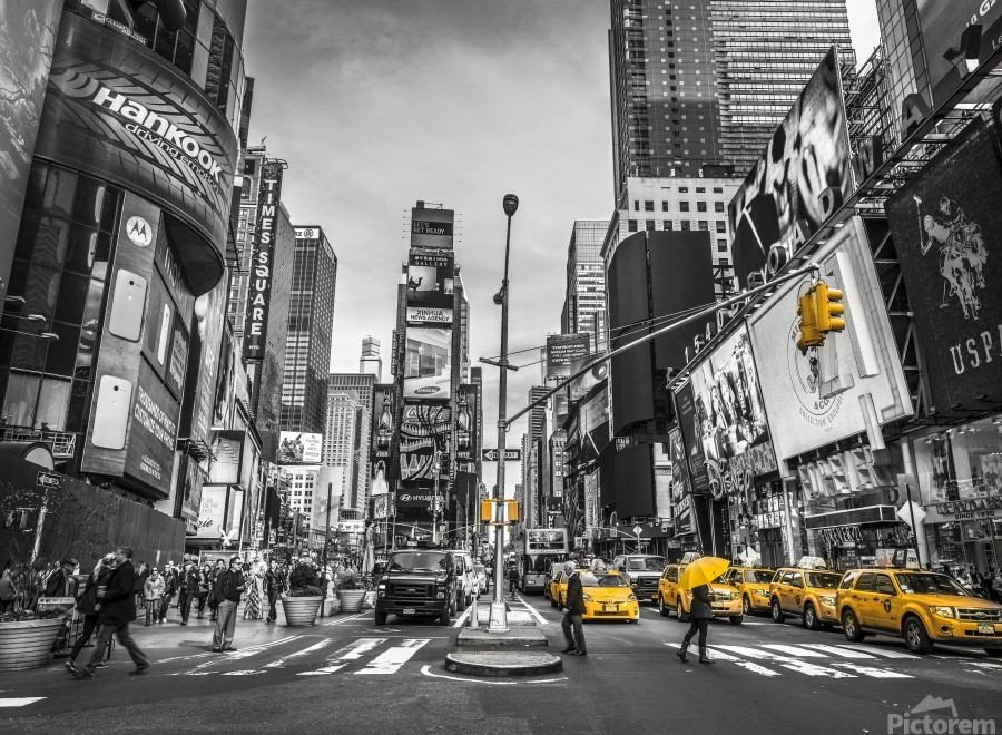 Traffic signal on broadway Times Square,  Manhattan, New York City  Print