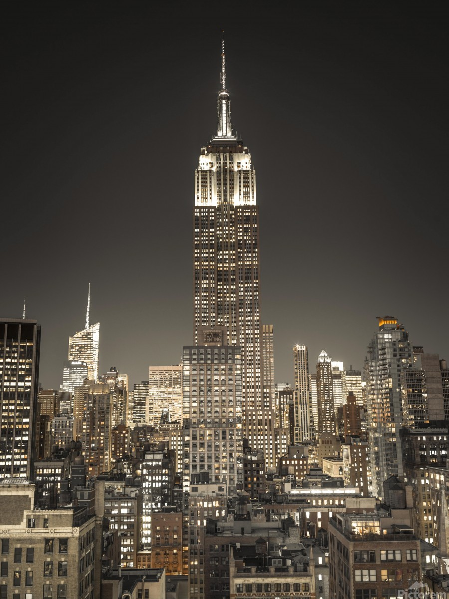 Empire State Building with New York City Manhattan skyline with skyscrapers  Print