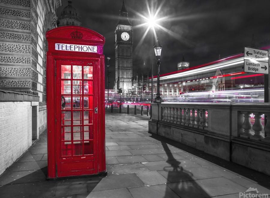 Telephone box with Big Ben, London, Uk  Print