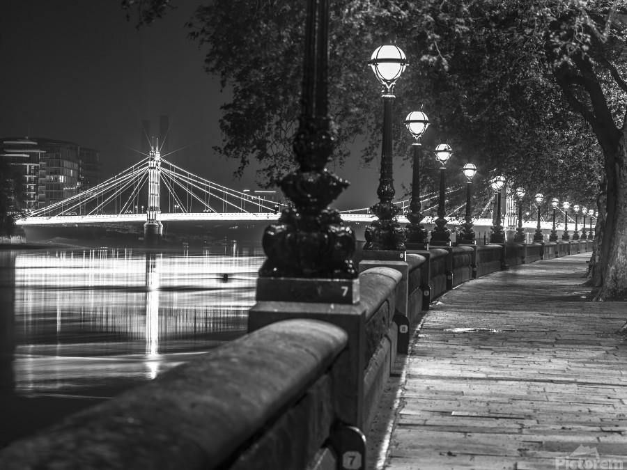London Riverside Promenade with Albert Bridge  Print