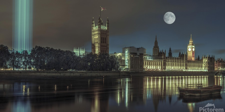 Column of spectra lights with Westminster Abby, London, UK  Print