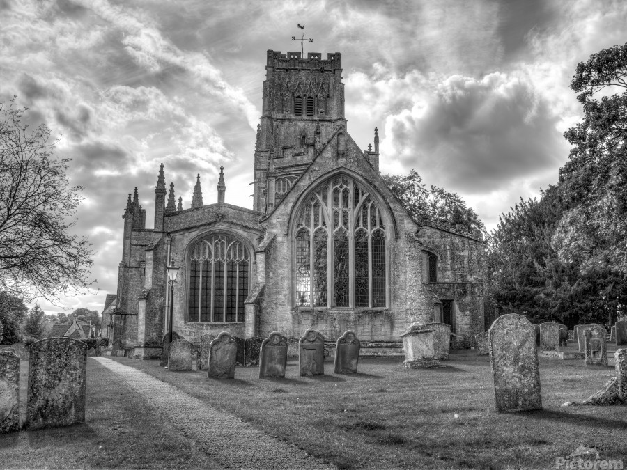 Old church in Northleach town, Cotswolds, UK  Print